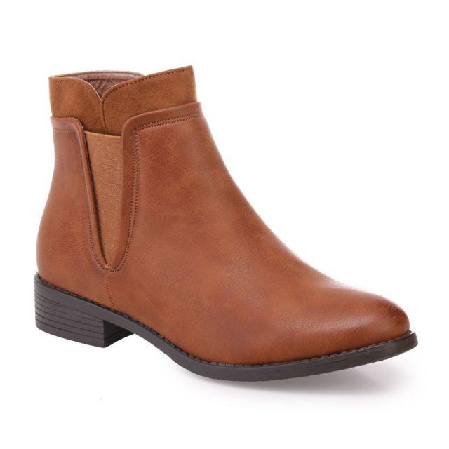 b4c7c24d26b7 Lamodeuse - Chelsea boots camel bi-matière - pas cher Achat   Vente ...