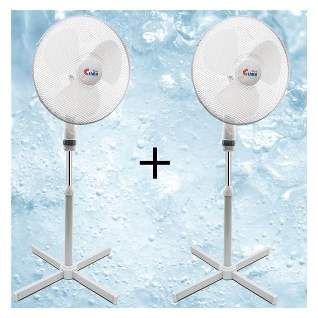 world clima 2 ventilateurs oscillants sur pied telescopique 50 w blanc 3 vitesses diam 40 cm. Black Bedroom Furniture Sets. Home Design Ideas