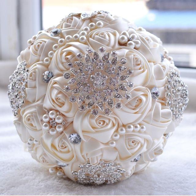 Mariage Tenant Perle Diamant Fleurs Blanc Bouquet De Mariee Accessoires Demoiselle D Honneur Strass Partie Decoration De Fournitures Diametre 20cm