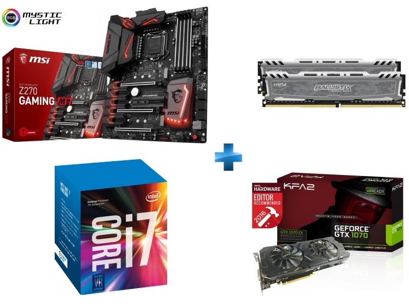 Carte mère Z270 GAMING M7 Socket 1151 - Chipset Z270 Kabylake + Processeur Intel Core i7-7700K 4.20GHz LGA1151 - KABYLAKE + Ballistix Sport LT 16 Go 2 x 8 Go DDR4 - 2400 Mhz - CAS 16 + GeForce GTX 1070 EX 8Go DDR5 256 bit DP 3/HDMI/DVI-D