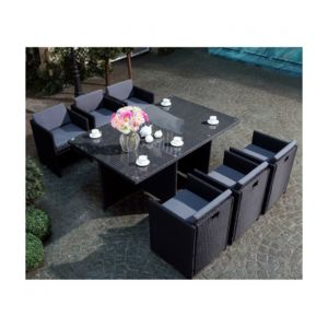 rocambolesk magnifique salon de jardin florida 6 noir gris salon encastrable 6 personnes en. Black Bedroom Furniture Sets. Home Design Ideas