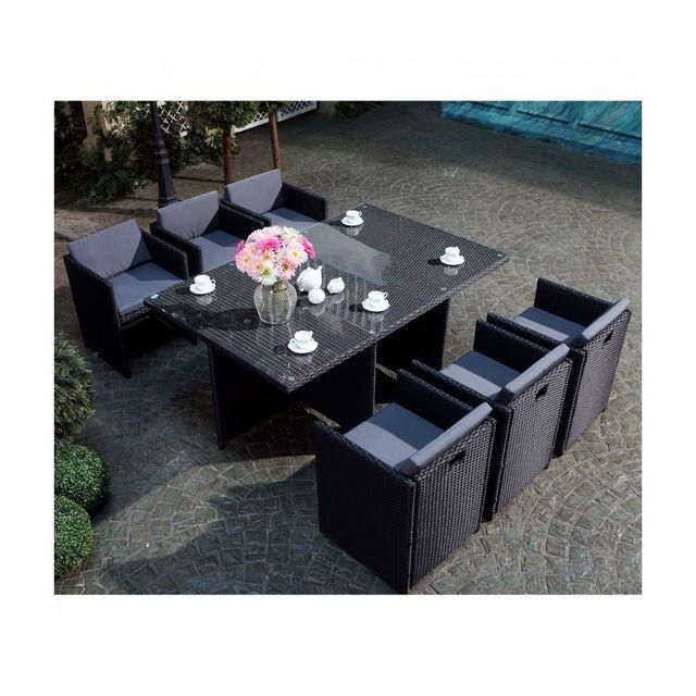 Rocambolesk - Magnifique Salon de jardin Florida 6 Noir/Gris ...