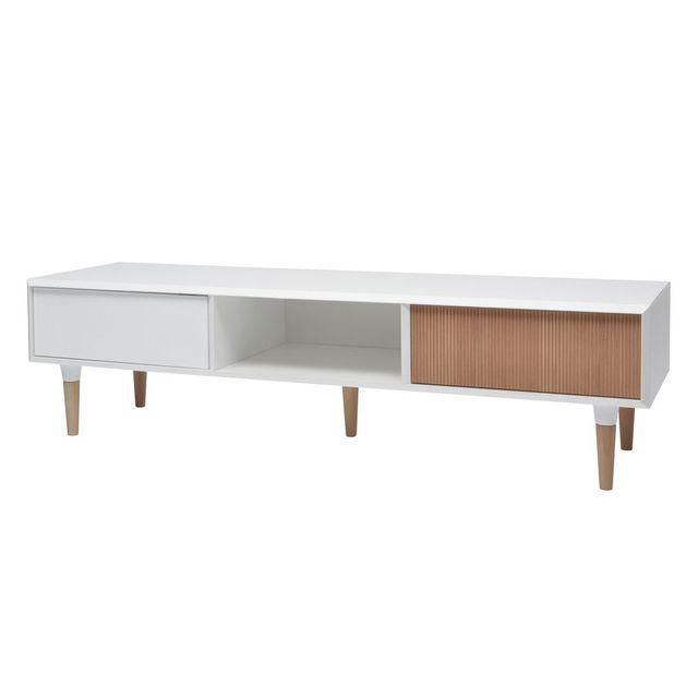 marque generique meuble tv 1 porte 1 tiroir 1 niche tempora blanc