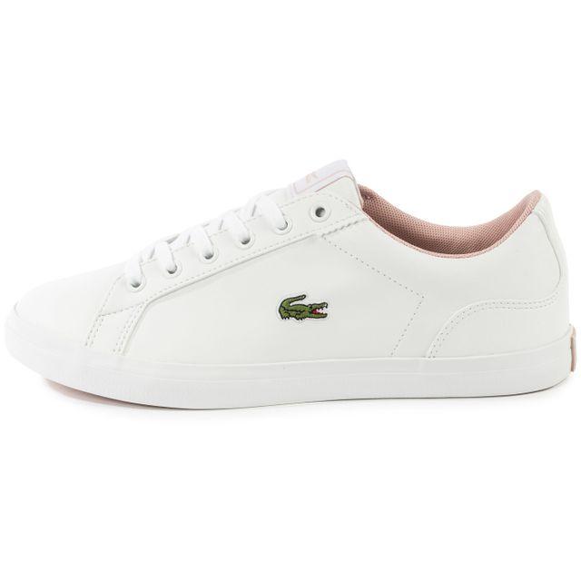 ba65bfc8ec chaussures lacoste lerond junior blanche et rose vue exterieure bottes  lacoste soldes