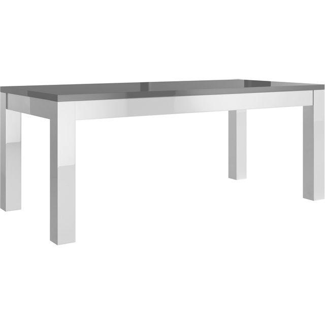 Table salle à manger 190cm blanc et gris laqué