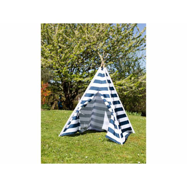 Decoris - Tente tipi indien bleu et blanc pour enfant 120x120x155 cm Charlienc