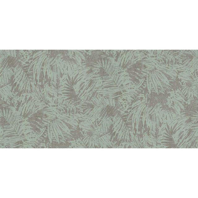 Papier Peint Vinyle Sur Intisse Uni Palmier Vert Taupe Pas Cher