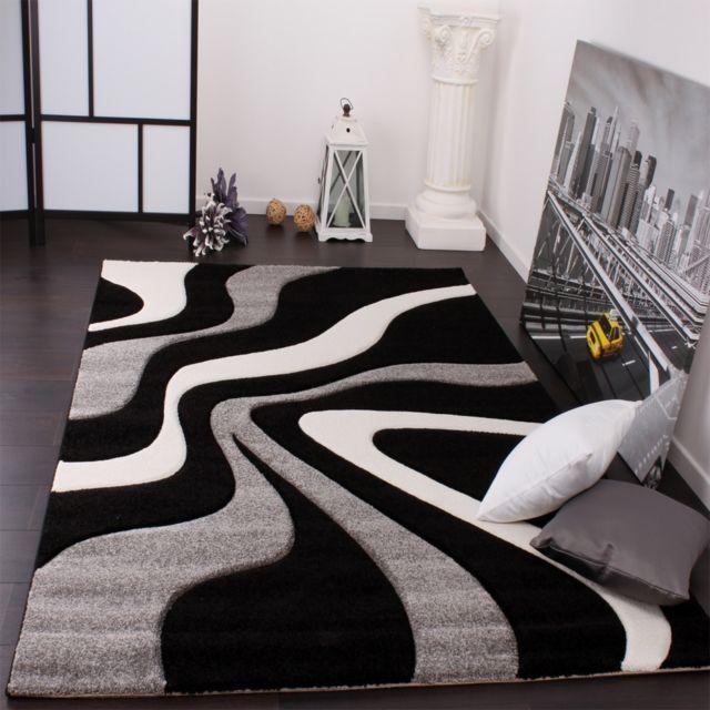 Designer Tapis vagues violet blanc gris