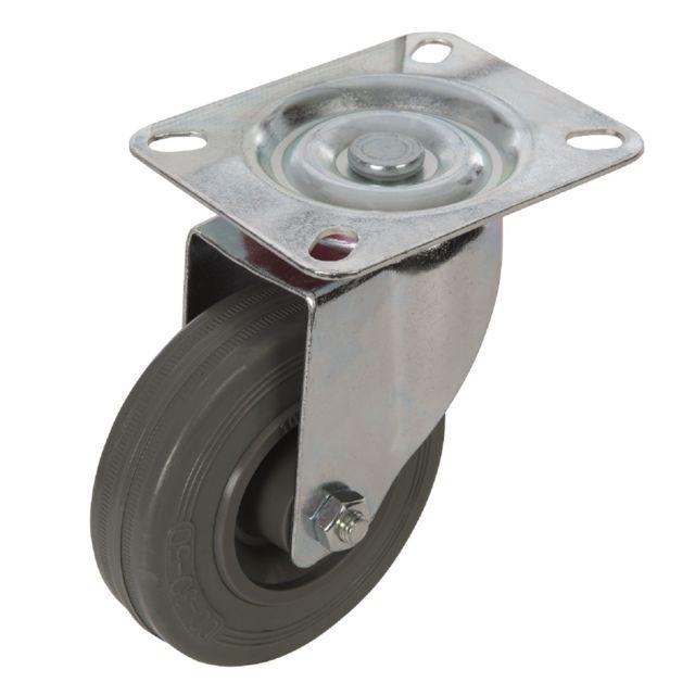 silverline - roulette pivotante caoutchouc à frein existe en 4