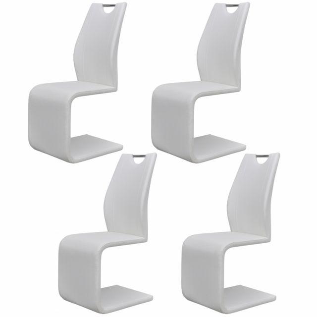 Casasmart Lot de 4 chaises en simili cuir blanc Hazan