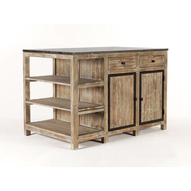 house bay ilot central de cuisine en bois et marbre longueur 145cm largeur 90cm supreme