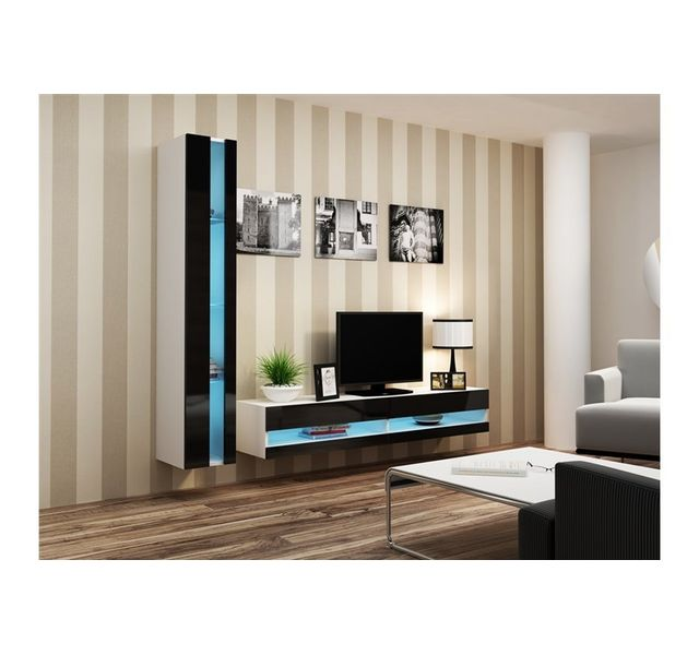 CHLOE DESIGN Ensemble Meuble tv design OLERIA - blanc et noir