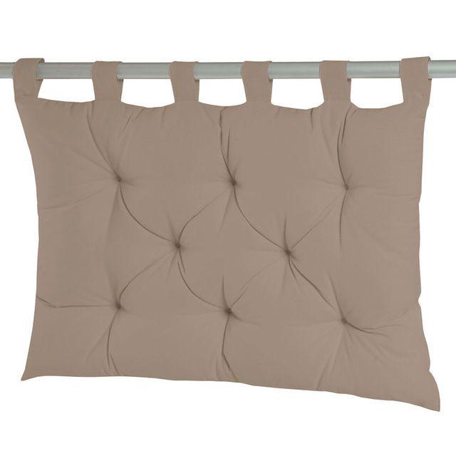 Dhf Coussin tête de lit à passants 8 capitons uni 100% coton 60x80cm Romeo - Taupe