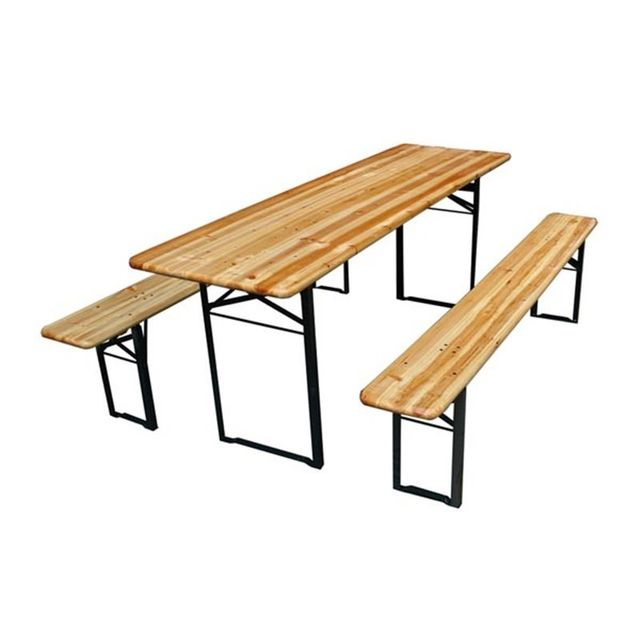 Perel Table - Avec 2 Bancs - 220 X 80 X 76 Cm