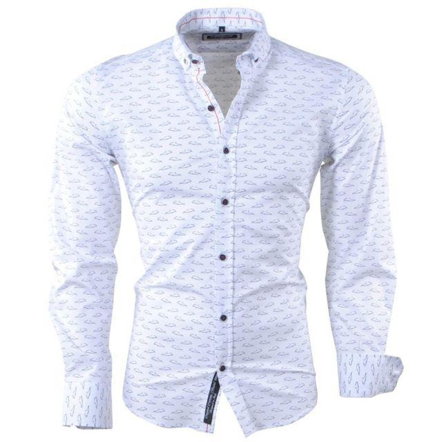11d2b0cb8dc9 Carisma - Chemise fashion imprimé homme Chemise 8411 blanc - pas ...
