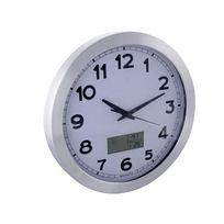 Perel - Horloge Murale En Aluminium Avec Écran Lcd - Thermomètre, Hygromètre Et Prévisions Météo - Aluminium - Ø 35 Cm