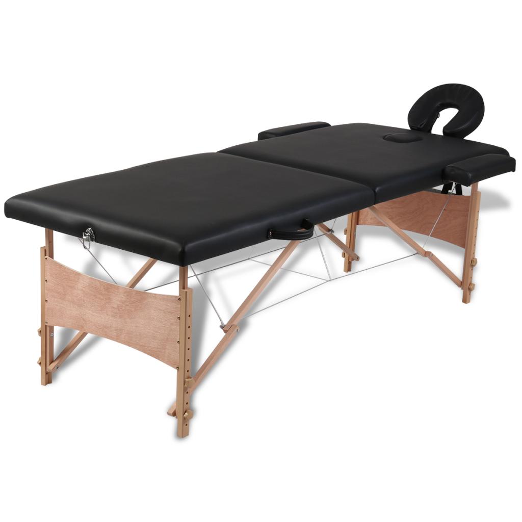 vidaxl table de massage pliante 2 zones noir cadre en bois pas cher achat vente chaises et. Black Bedroom Furniture Sets. Home Design Ideas