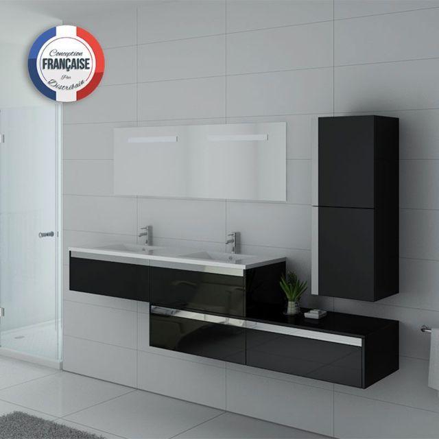 Distribain - Meuble double vasque Bellissimo Noir - pas cher Achat ...