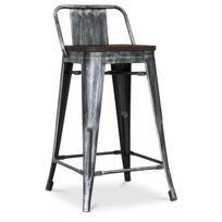 Privatefloor - Tolix Tabouret avec assise en bois et petit dossier style  Xavier Pauchard - 60cm 440097cdae40