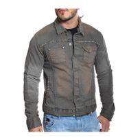 Kingz - Veste en jeans usée et délavée avec clous