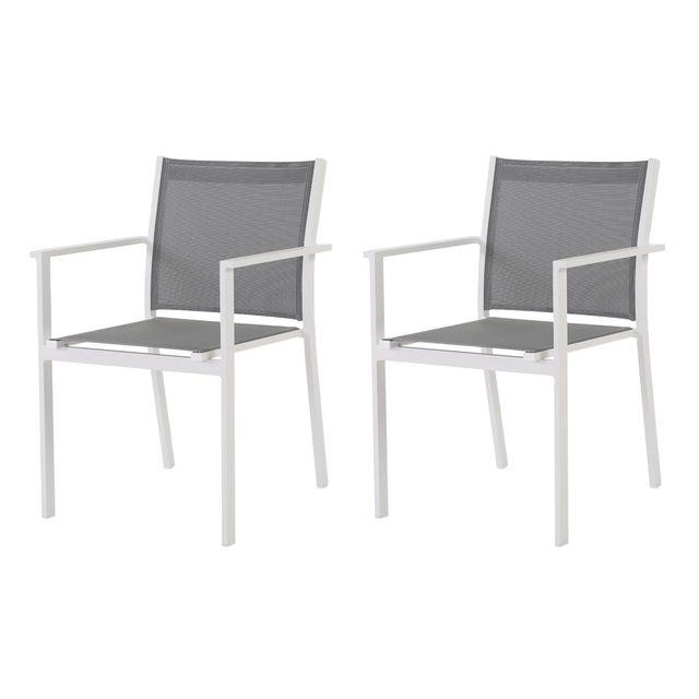 Rotin-design Soldes: -39% Lot de 2 fauteuils alu et toile Bale gris - Rotin Design