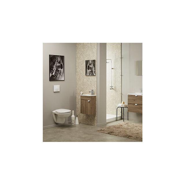 Ensemble vasque et miroir décor chêne