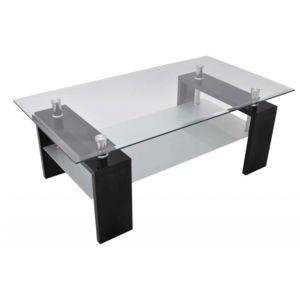 Autre table basse de salon salle manger design noir verre et bois laqu 110 x 60 cm 0902004 for Table verre et bois salle a manger