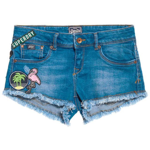 Jeans Femme Taille 24 Bleu Short Denim Hot Patches Superdry OwF1qpq