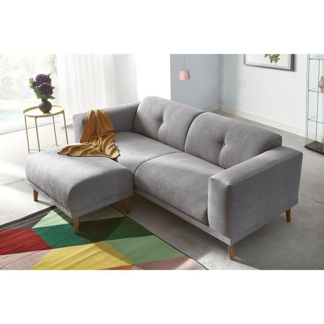 BOBOCHIC - Canapé LUNA avec Pouf - Style Scandinave - Gris Clair 93cm x 77cm x 225cm