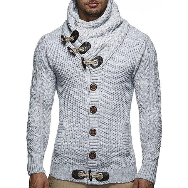 detailed images unique design new images of Pull épais - homme/ col roulé/ Cardigan/ en laine revers/ Gris clair L