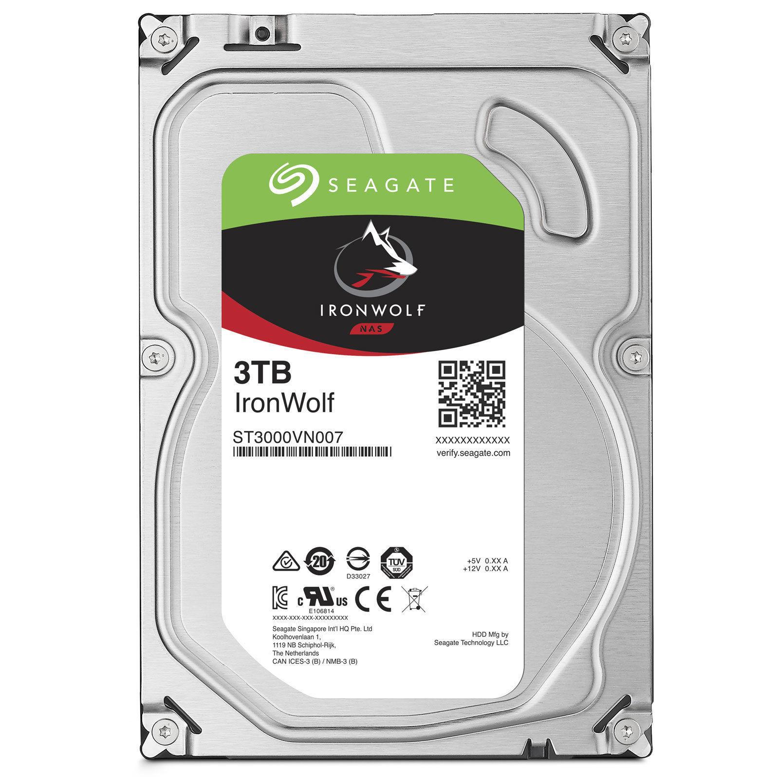 Disque dur interne IronWolf 3 To 3.5'' 7200 RPM 64 Mo Serial ATA 6 Gb/s pour NAS
