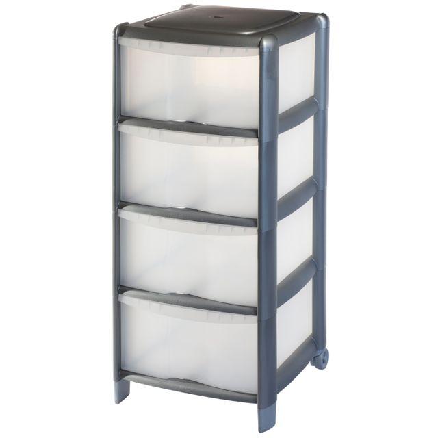 carrefour tour de rangement 4 tiroirs 80l gris 9022069a26car pas cher achat vente. Black Bedroom Furniture Sets. Home Design Ideas