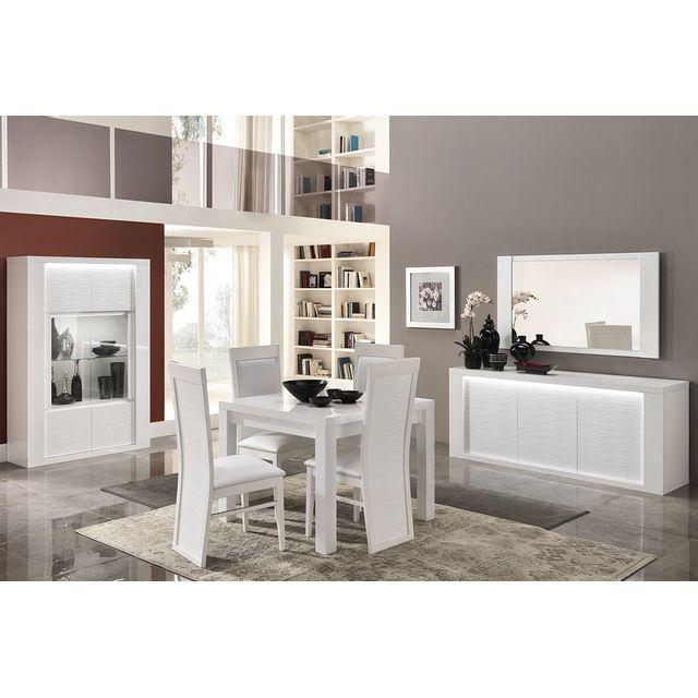 Comforium Ensemble salle à manger avec table carrée coloris blanc laqué brillant
