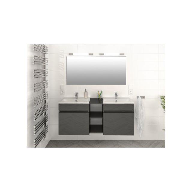 Marque generique ensemble kahi meuble de salle de bain double vasque gris laqu pas cher for Marque meuble salle de bain