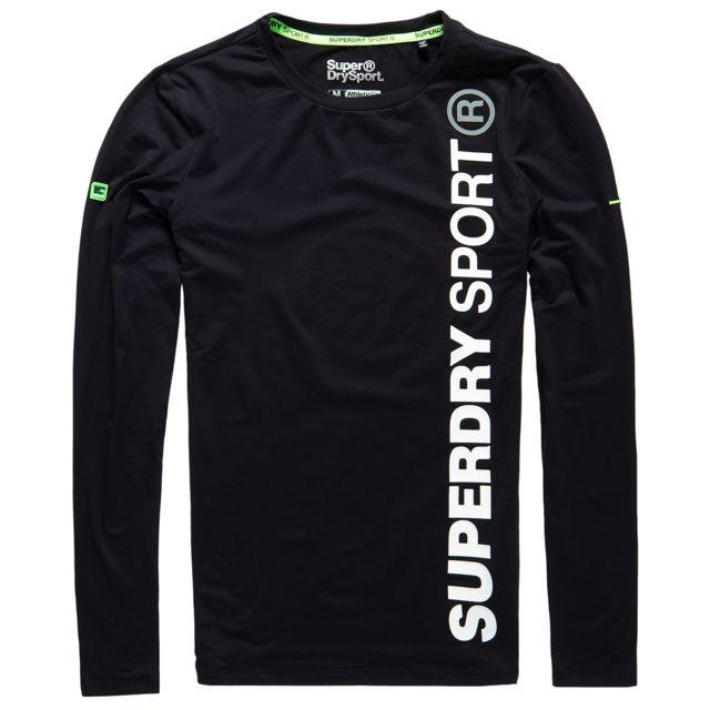 507911c1055319 Superdry - Sports Athletic T-shirt Ml Homme - Taille M - Noir - pas ...