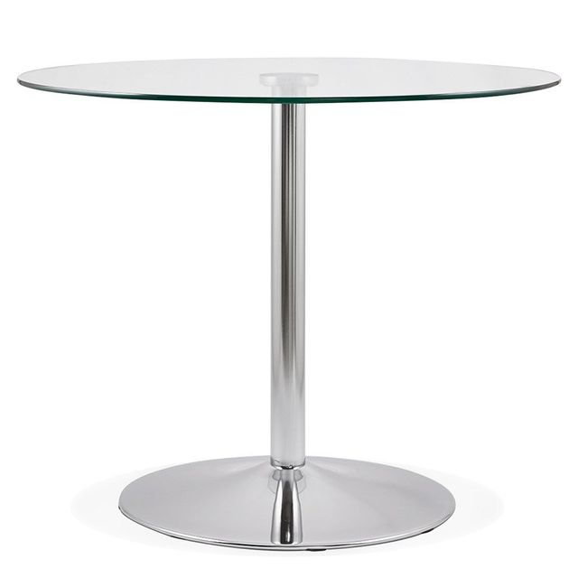 Alterego Petite table de cuisine ronde 'YOUPI' en verre - Ã? 90 cm
