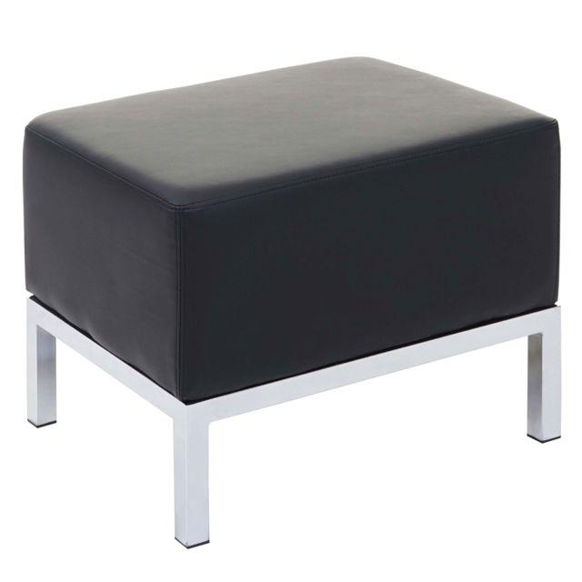 MENDLER Ottomane HWC-C19, système modulaire de fauteuils, tabouret, extensible similicuir ~ noir