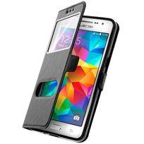 Cabling - Coque Samsung Galaxy S7 noir housse étui flip cover double fenetre, ultra fine - couleur étui noir