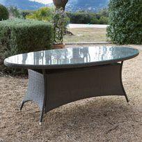 GreenPath - Table de jardin ovale Résine tressée cacao plateau verre 200x106cm