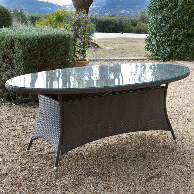 GreenPath Table de jardin ovale Résine tressée cacao plateau verre 200x106cm