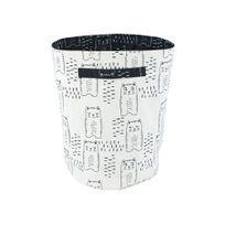 Nattiot - Panier de rangement 100% coton anses motif chats noir et blanc 40x30x30cm Charlie
