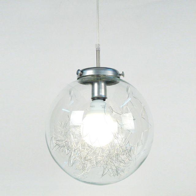 Tosel Suspension verre transparent et fils métallliques diamètre 35 cm Aero