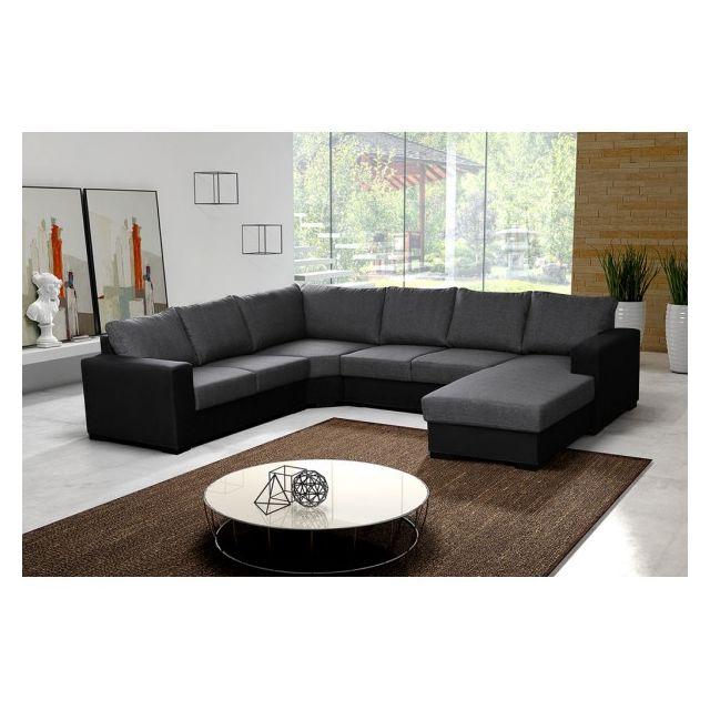 MEUBLESLINE Canapé d'angle en U 7 places OARA gris et noir