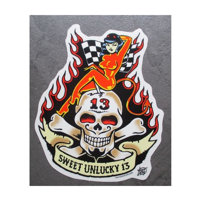 Universel Sticker pin up diablesse crane sweet unlucky 13 autocollant