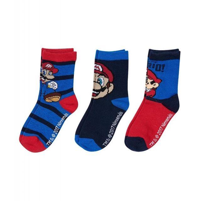 Super Mario - Lot de 3 paires de chaussettes Super Mar Bleu - 23/26