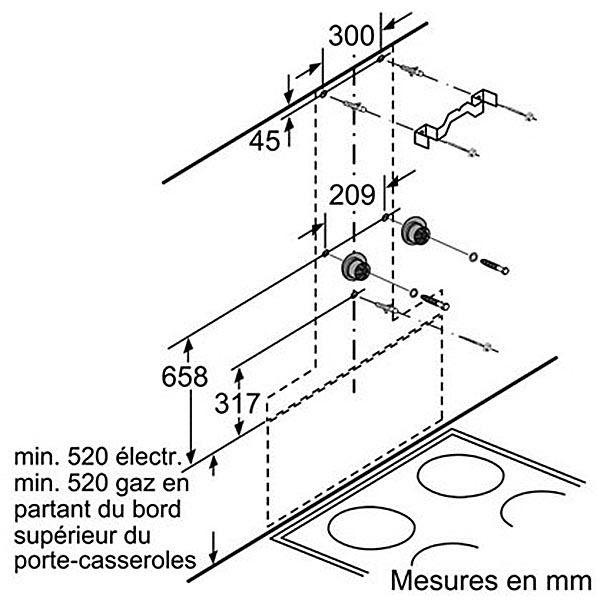 Bosch - hotte décorative 90cm évacuation/recyclage 57db 800m3/h inox - dwk09m850