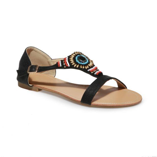 Sandales grande taille noires à perles