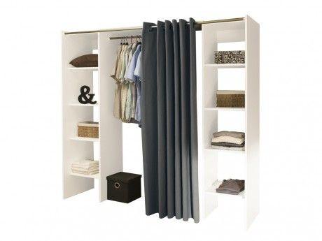 MARQUE GENERIQUE - Dressing extensible EMERIC - L.112/185 cm - Blanc et anthracite 50cm x 112cm x 182cm