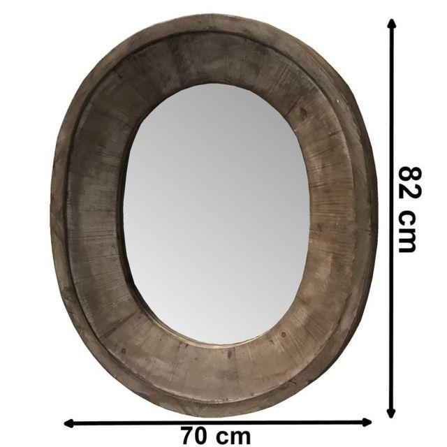Chemin De Campagne Miroir Roue Oeil de Boeuf Ovale 82 cm x 70 cm