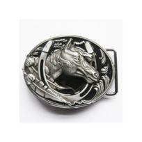 Universel - Boucle de ceinture tete de cheval dans un fer country noir